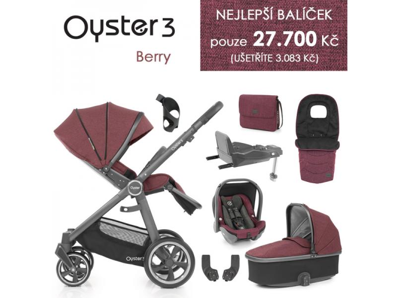 Oyster 3 Nejlepší set 8 v 1 BERRY (CITY GREY rám) kočár + hl.korba + autosedačka + adaptéry + fusak + taška + isofix báze + držák na nápoje