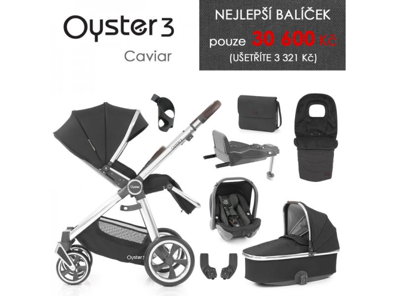 Oyster 3 Nejlepší set 8 v 1 CAVIAR (MIRROR rám) kočár + hl.korba + autosedačka + adaptéry + fusak + taška + isofix báze + držák na nápoje