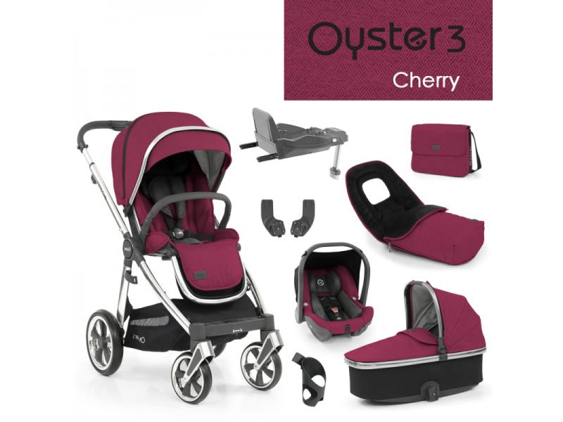 Oyster 3 Nejlepší set 8 v 1 CHERRY (MIRROR rám) 2022 kočár + hl.korba + autosedačka + adaptéry + fusak + taška + isofix báze + držák na nápoje