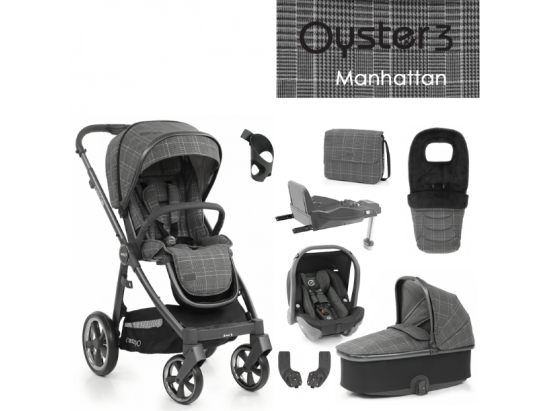 Oyster 3 Nejlepší set 8 v 1 MANHATTAN (CITY GREY rám) kočár + hl.korba + autosedačka + adaptéry + fusak + taška + isofix báze + držák na nápoje