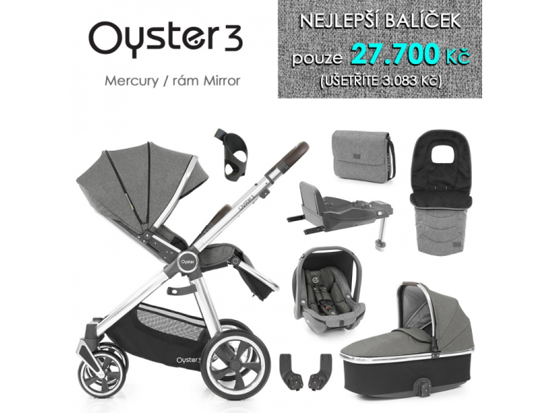 Oyster 3 Nejlepší set 8 v 1 MERCURY (MIRROR rám) kočár + hl.korba + autosedačka + adaptéry + fusak + taška + isofix báze + držák na nápoje