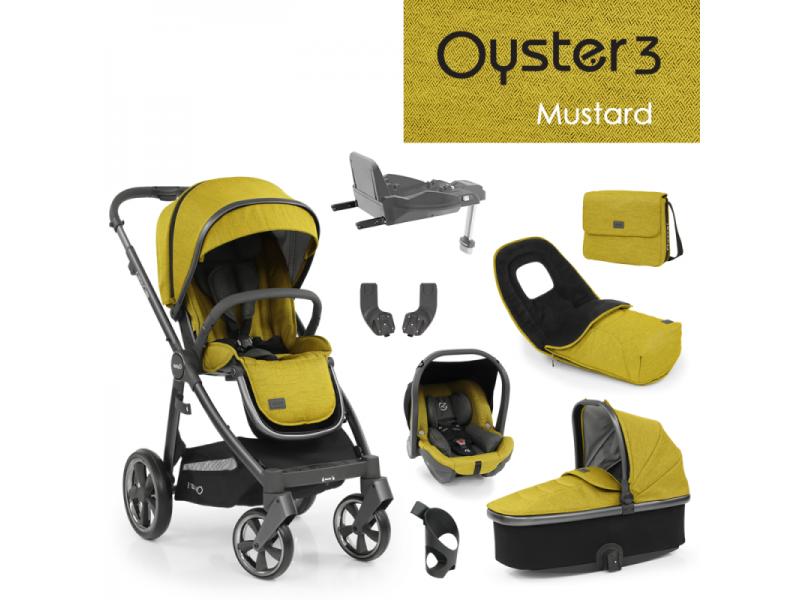 Oyster 3 Nejlepší set 8 v 1 MUSTARD (CITY GREY rám) 2022 kočár + hl.korba + autosedačka + adaptéry + fusak + taška + isofix báze + držák na nápoje