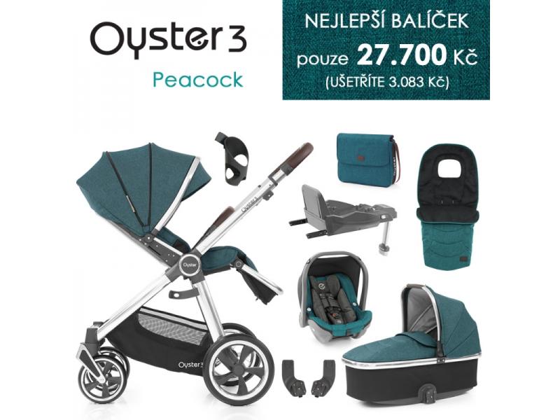Oyster 3 Nejlepší set 8 v 1 PEACOCK (MIRROR rám) kočár + hl.korba + autosedačka + adaptéry + fusak + taška + isofix báze + držák na nápoje