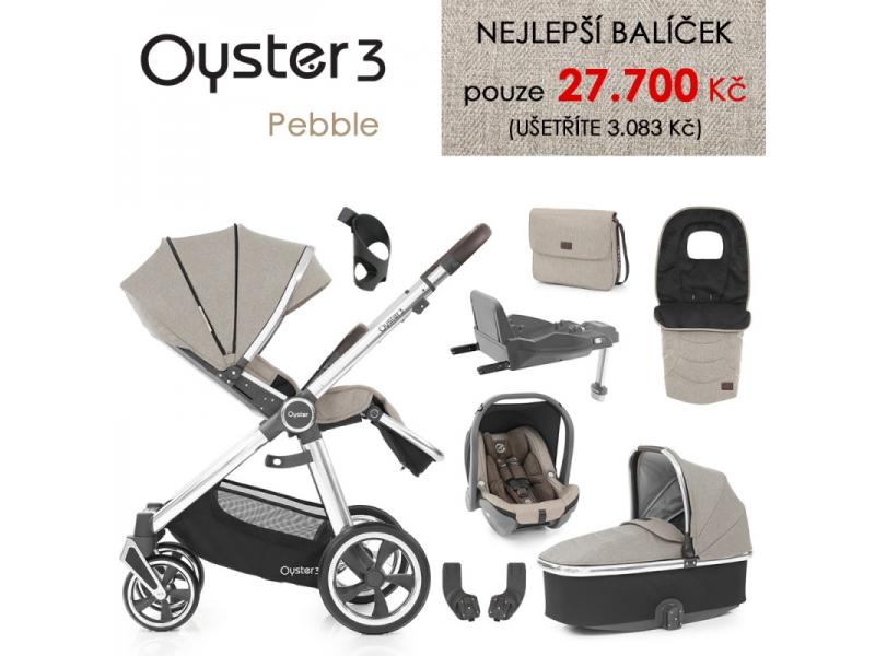 Oyster 3 Nejlepší set 8 v 1 PEBBLE (MIRROR rám) kočár + hl.korba + autosedačka + adaptéry + fusak + taška + isofix báze + držák na nápoje