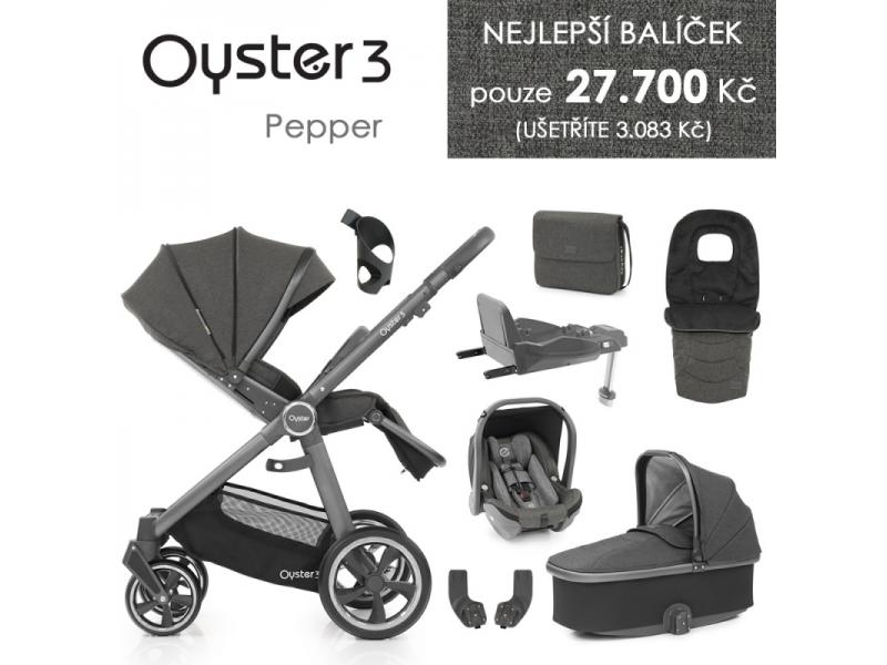 Oyster 3 Nejlepší set 8 v 1 PEPPER (CITY GREY rám) kočár + hl.korba + autosedačka + adaptéry + fusak + taška + isofix báze + držák na nápoje