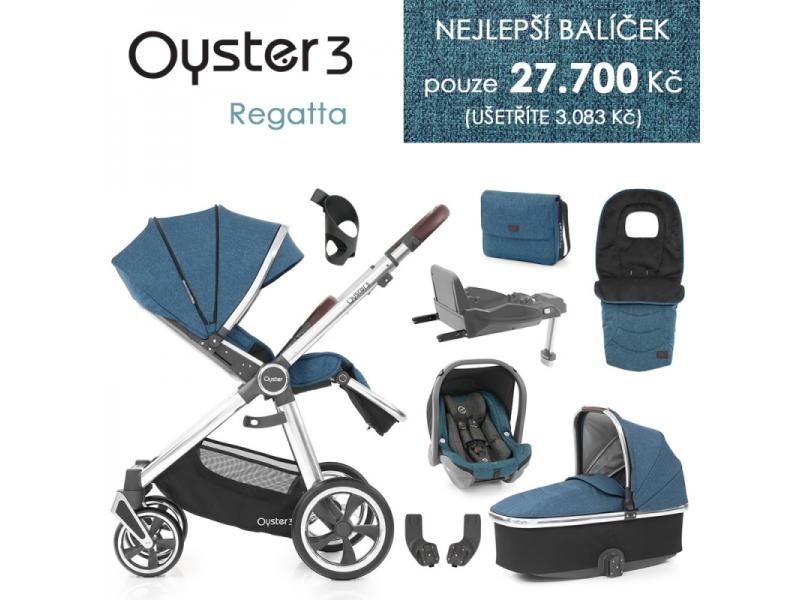 Oyster 3 Nejlepší set 8 v 1 REGATTA (MIRROR rám) kočár + hl.korba + autosedačka + adaptéry + fusak + taška + isofix báze + držák na nápoje