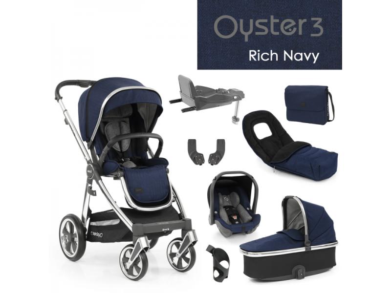 Oyster 3 Nejlepší set 8 v 1 RICH NAVY (MIRROR rám) 2022 kočár + hl.korba + autosedačka + adaptéry + fusak + taška + isofix báze + držák na nápoje