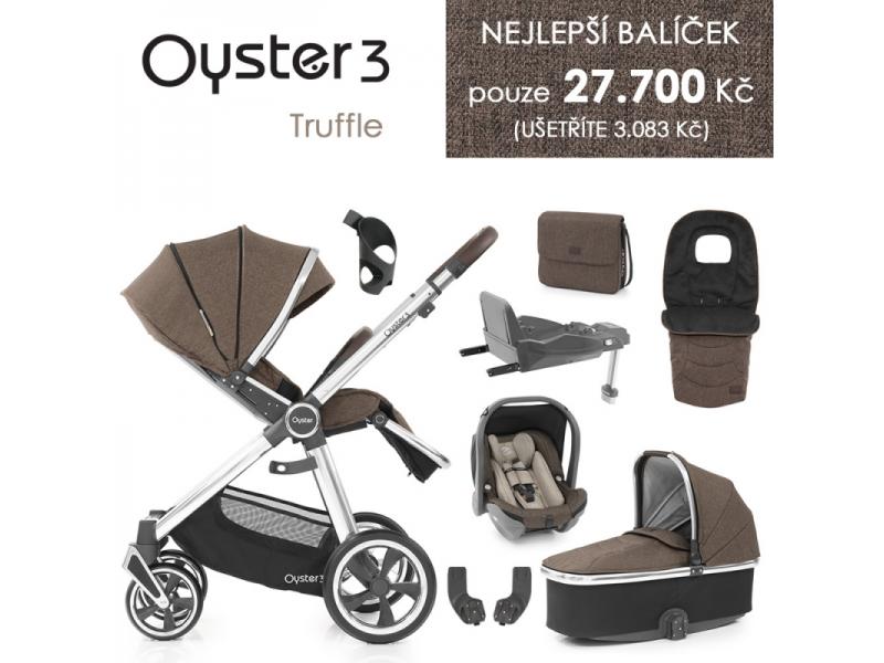 Oyster 3 Nejlepší set 8 v 1 TRUFFLE (MIRROR rám) kočár + hl.korba + autosedačka + adaptéry + fusak + taška + isofix báze + držák na nápoje