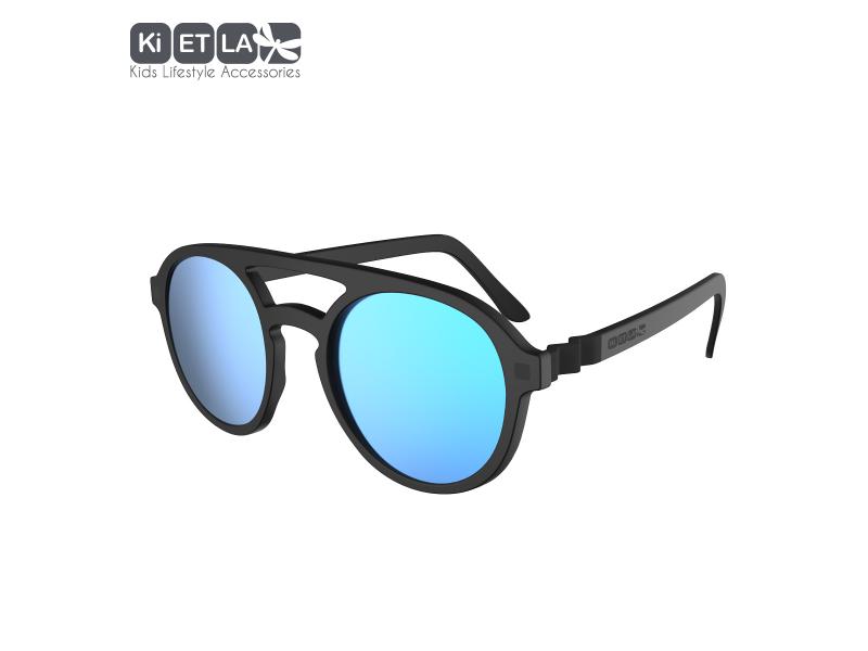 Ki ET LA Dětské sluneční brýle CraZyg-Zag 9-12 let pilotky - černé zrcadlovky