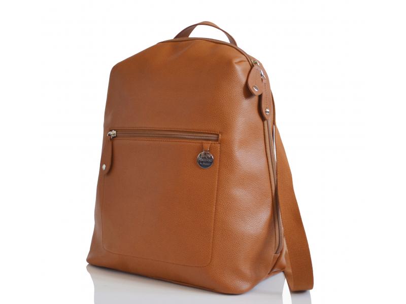 PacaPod HARTLAND kožená hnědá - přebalovací taška i batůžek
