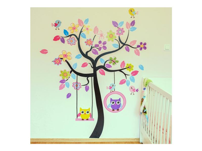 Dětské samolepky - Velký strom a sovičky 1