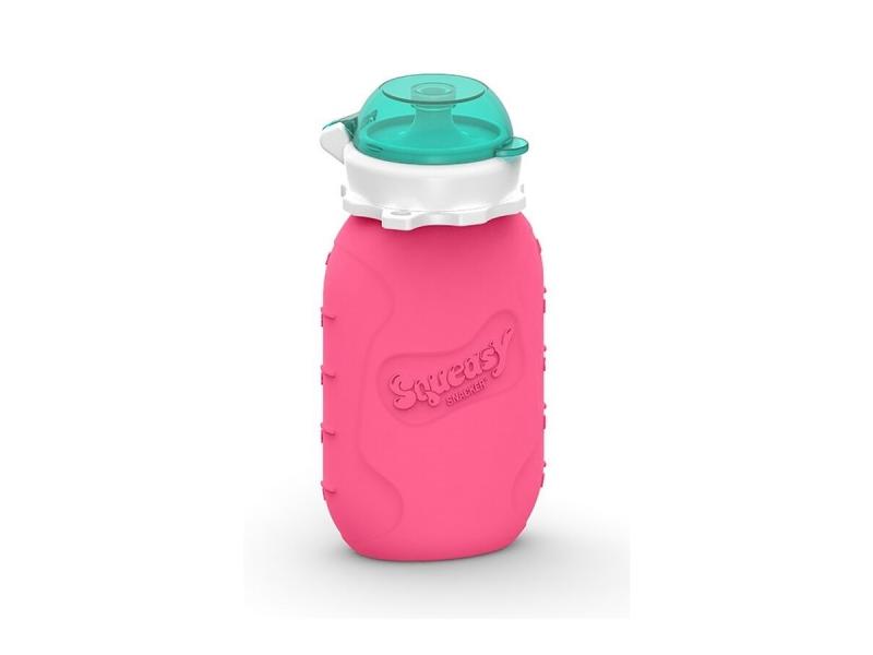 Squeasy Gear Silikónová kapsička na dětskou stravu 180ml - růžová