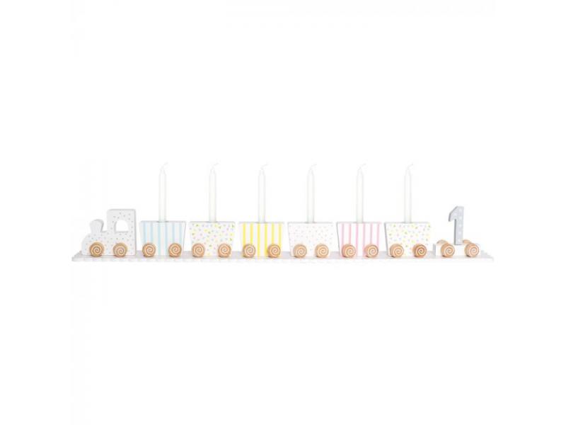 Dřevěný narozeninový vláček, pastelový 1