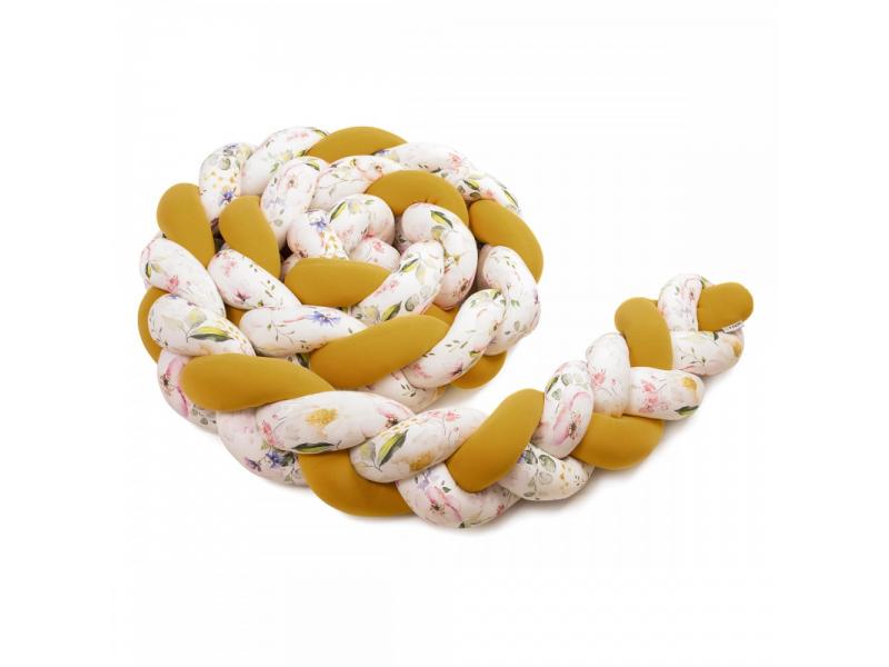 Pletený mantinel 180 cm, mustard/flowers 1