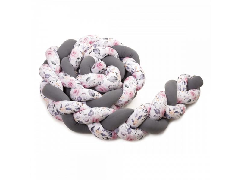 Pletený mantinel 360 cm, anthracite/roses 1