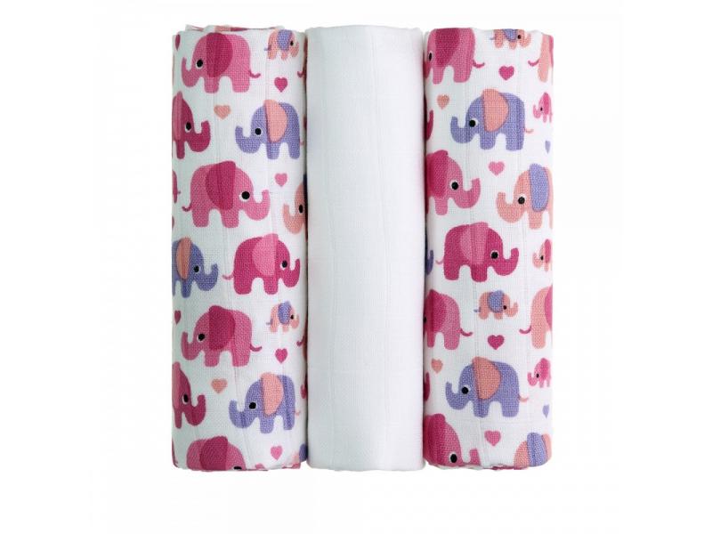 BIO Bambusové pleny, pink elephants / růžoví sloni, 3ks 1