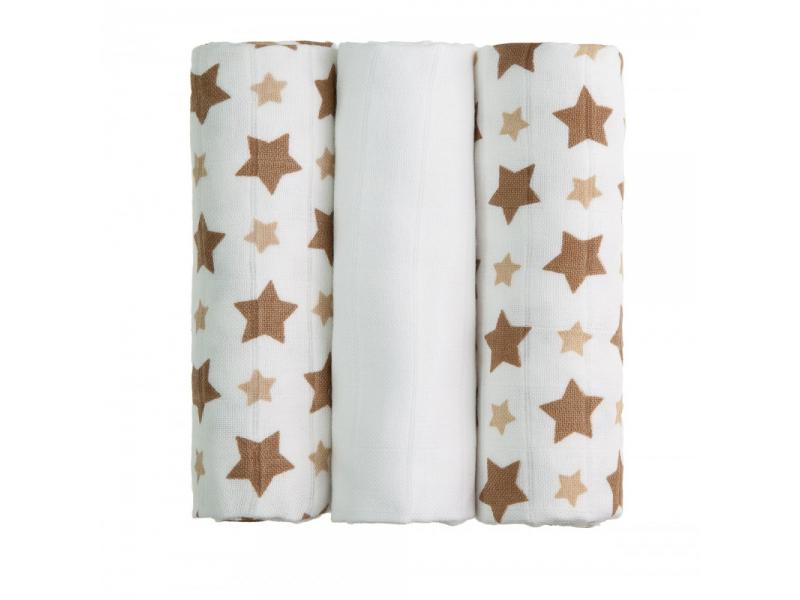 BIO Bambusové pleny, beige stars / béžové hvězdičky, 3ks 1