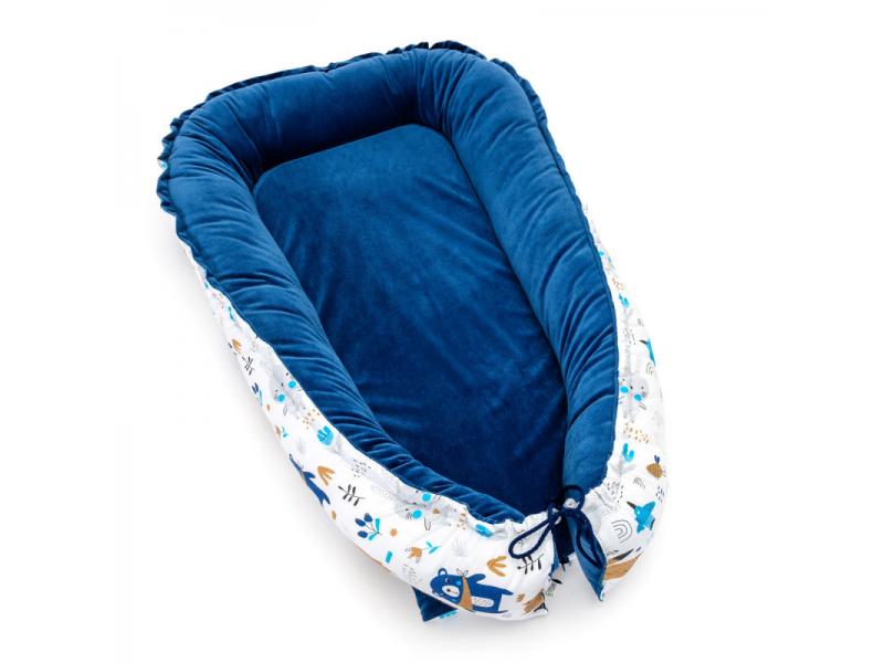 Hnízdečko pro miminko VELVET, blue bears 70 x 98 1