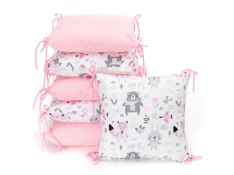 Polštářkový mantinel VELVET, pink bears 35 x 35 1