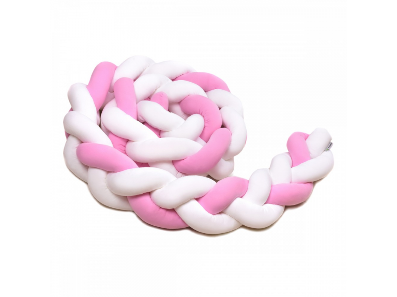 Pletený mantinel 180 cm, white + pink 1