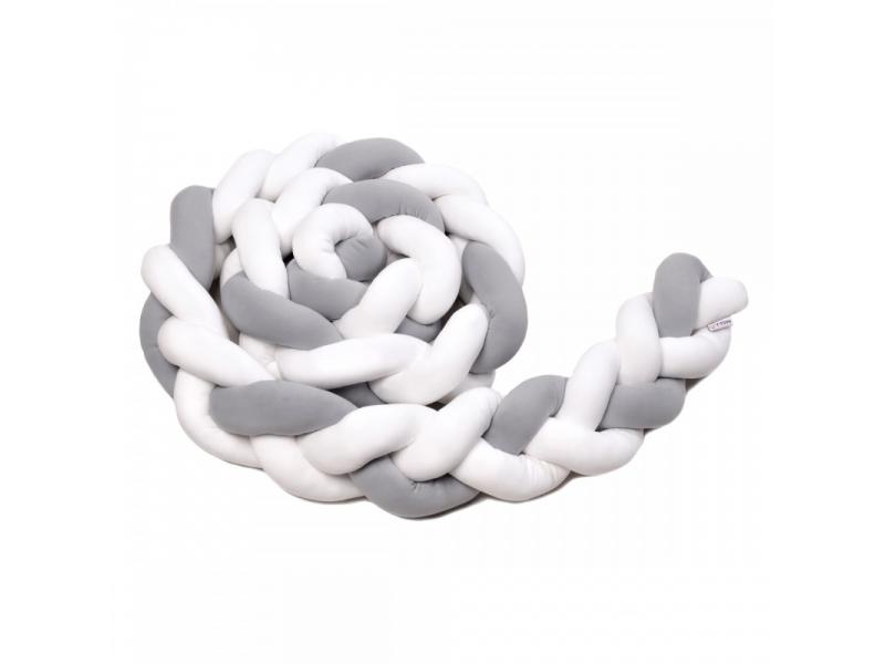 Pletený mantinel 180 cm, white + grey 1