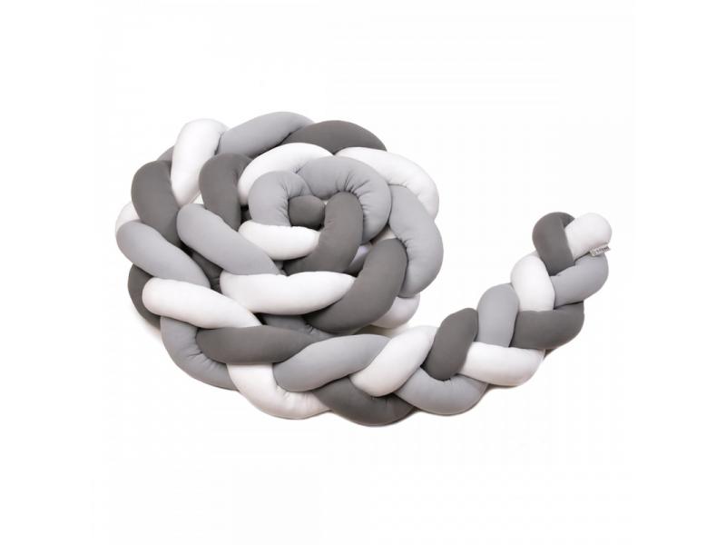 Pletený mantinel 180 cm, white + grey + anthracite 1