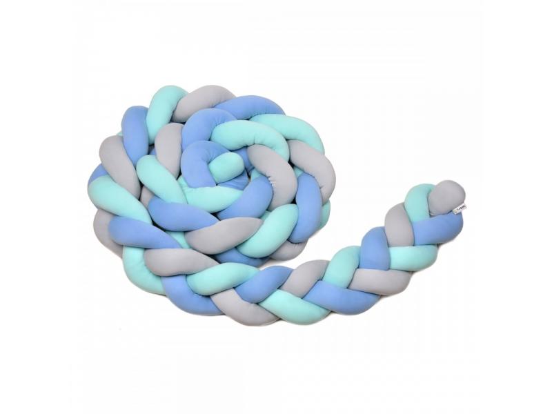 Pletený mantinel 180 cm, mint + blue + grey 1