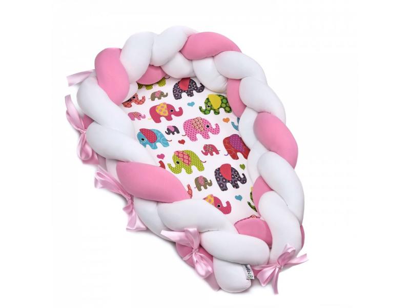 Pletené hnízdečko 2v1, pink elephant 1