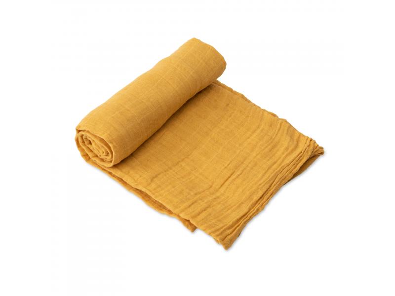 Mušelínová zavinovací plena 120x120cm Mustard 1