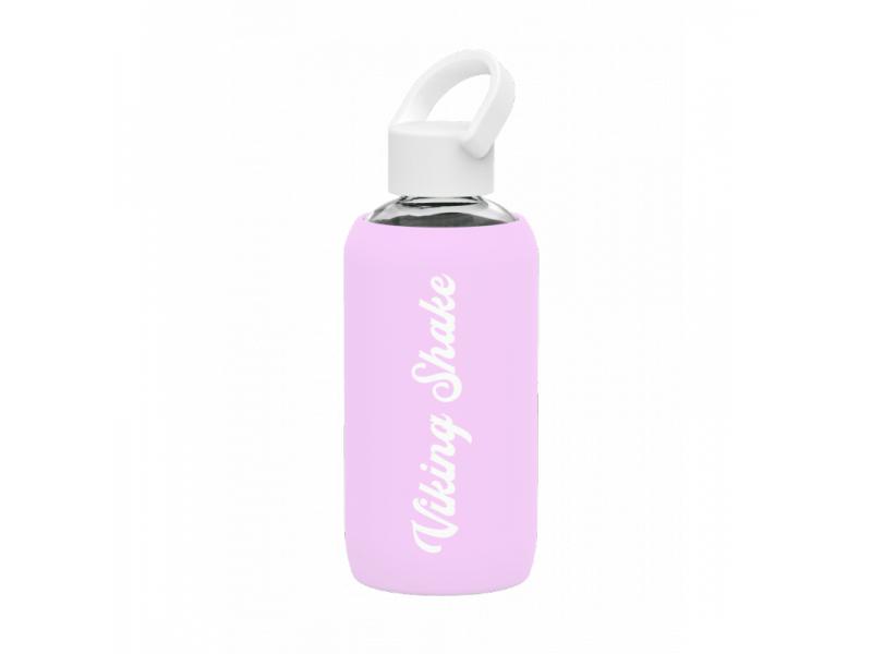 EcoViking Lahev na vodu 420ml skleněná silikonový obal Pink
