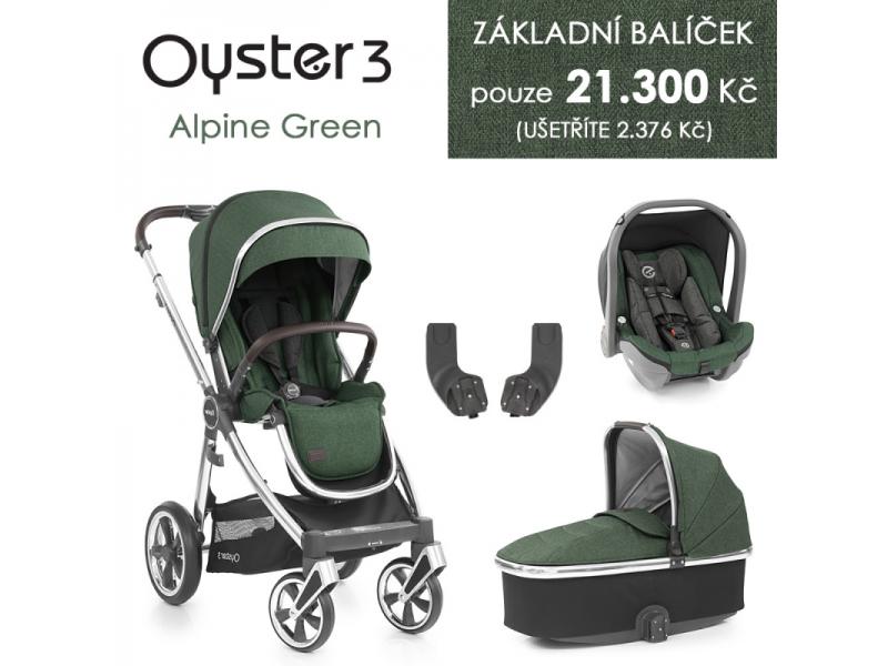 Oyster 3 Základní set 4 v 1 ALPINE GREEN (MIRROR rám) kočár + hl.korba + autosedačka + adaptéry