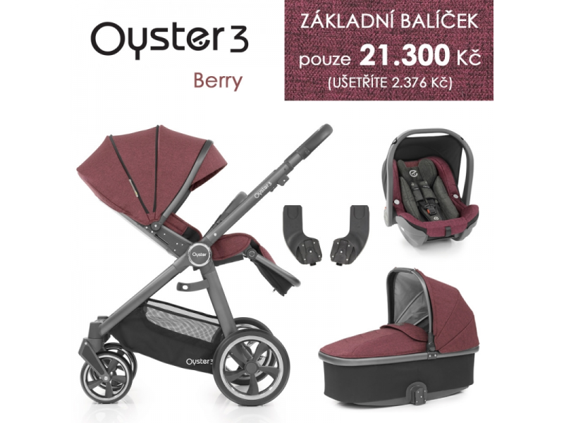 Oyster 3 Základní set 4 v 1 BERRY (CITY GREY rám) kočár + hl.korba + autosedačka + adaptéry