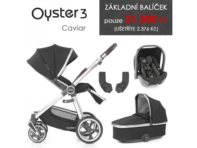 Oyster 3 Základní set 4 v 1 CAVIAR (MIRROR rám) kočár + hl.korba + autosedačka + adaptéry
