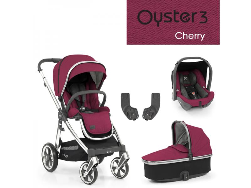 Oyster 3 Základní set 4 v 1 CHERRY (MIRROR rám) 2022 kočár + hl.korba + autosedačka + adaptéry