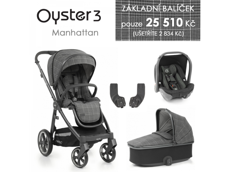 Oyster 3 Základní set 4 v 1 MANHATTAN (CITY GREY rám) kočár + hl.korba + autosedačka + adaptéry