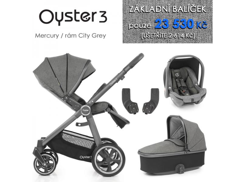 Oyster 3 Základní set 4 v 1 MERCURY (CITY GREY rám) kočár + hl.korba + autosedačka + adaptéry