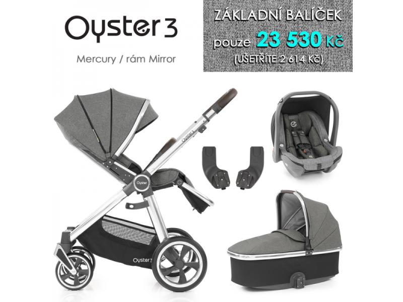 Oyster 3 Základní set 4 v 1 MERCURY (MIRROR rám) kočár + hl.korba + autosedačka + adaptéry