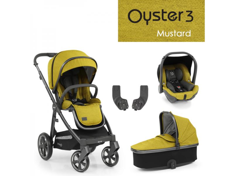 Oyster 3 Základní set 4 v 1 MUSTARD (CITY GREY rám) 2022 kočár + hl.korba + autosedačka + adaptéry