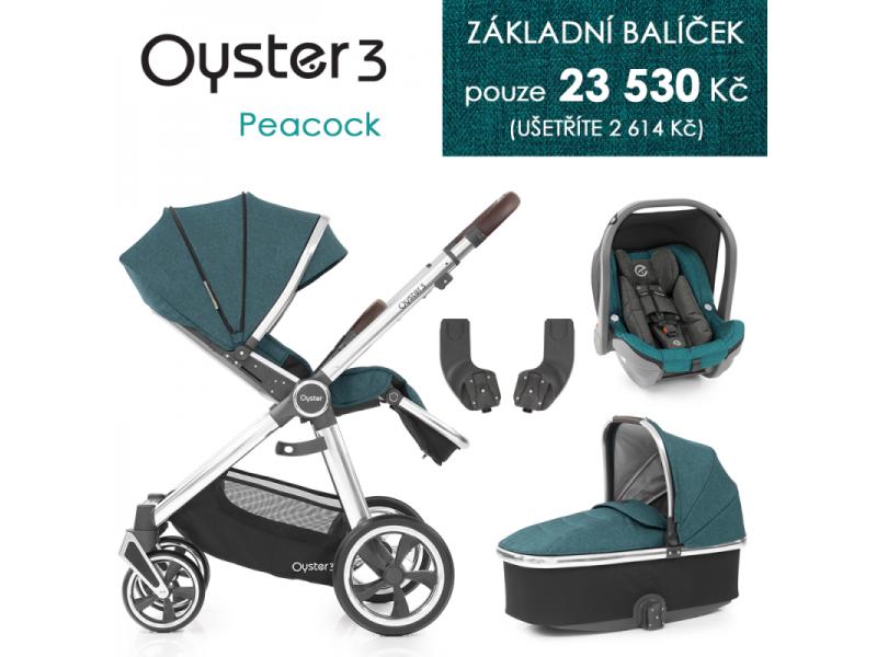Oyster 3 Základní set 4 v 1 PEACOCK (MIRROR rám) kočár + hl.korba + autosedačka + adaptéry