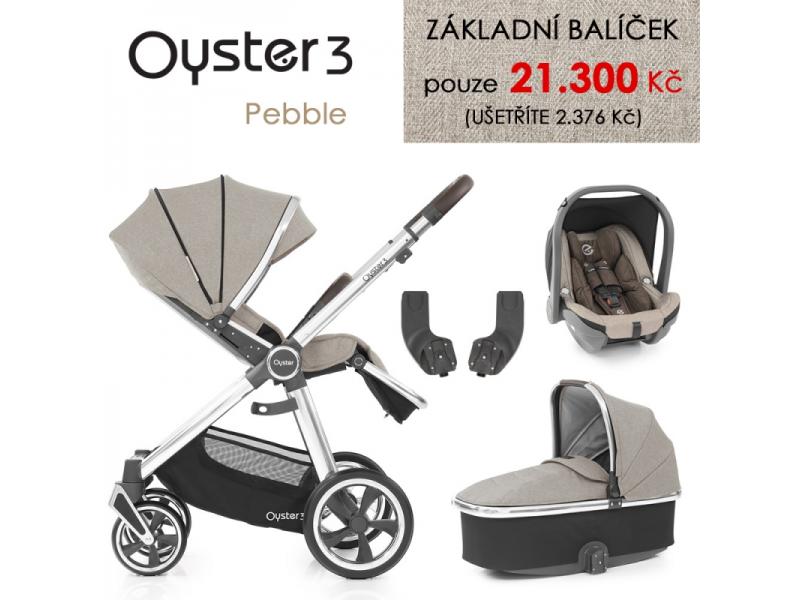 Oyster 3 Základní set 4 v 1 PEBBLE (MIRROR rám) kočár + hl.korba + autosedačka + adaptéry