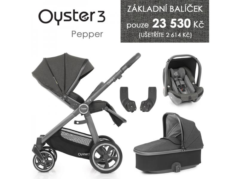 Oyster 3 Základní set 4 v 1 PEPPER (CITY GREY rám) kočár + hl.korba + autosedačka + adaptéry