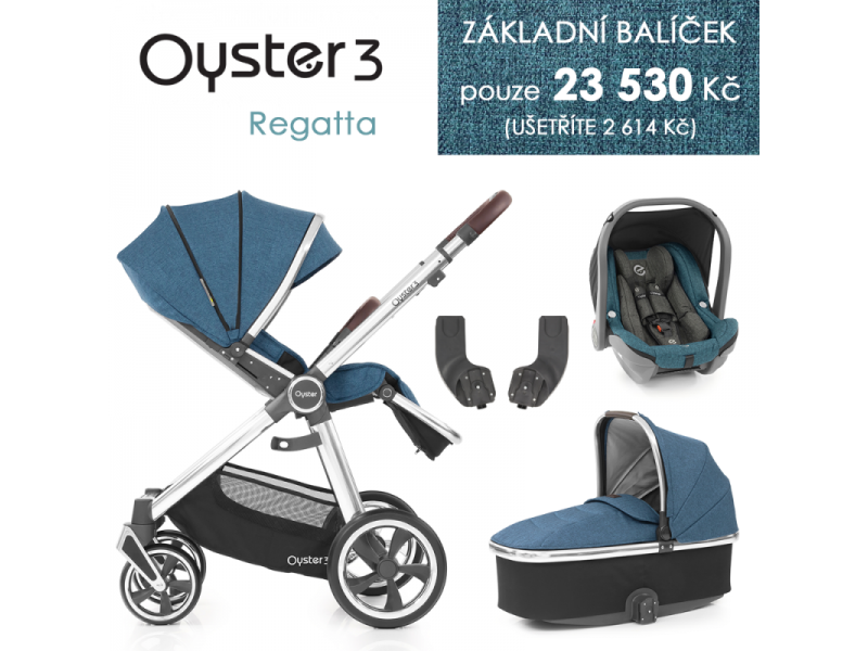 Oyster 3 Základní set 4 v 1 REGATTA (MIRROR rám) kočár + hl.korba + autosedačka + adaptéry