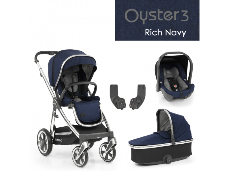 Oyster 3 Základní set 4 v 1 RICH NAVY (MIRROR rám) 2022 kočár + hl.korba + autosedačka + adaptéry