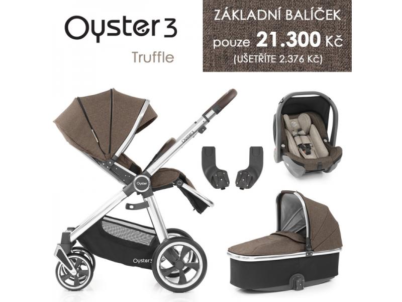 Oyster 3 Základní set 4 v 1 TRUFFLE (MIRROR rám) kočár + hl.korba + autosedačka + adaptéry