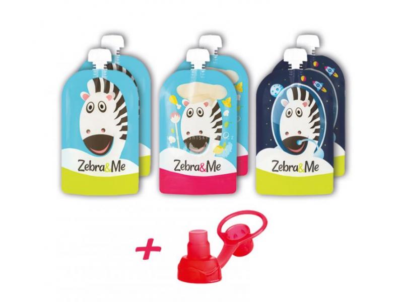 Zebra&Me Kapsička na opakované použití 6ks + náustek zdarma kuchař-zebra