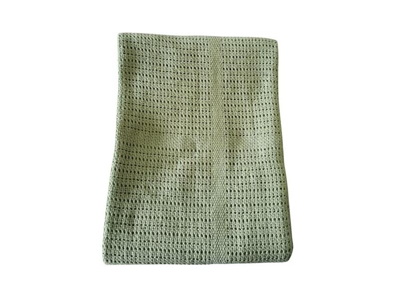 Dětská háčkovaná bavlněná deka Babydan Dusty Green,75x100cm 1