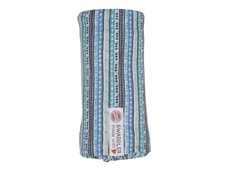 Swaddler Stripe Xandu 120 x 120 cm Dusty Turquoise 1