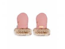 BEZTROSKA Rukavice s kožešinou na kočárek, pink powder
