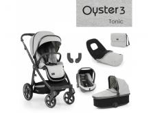 Oyster 3 Luxusní set 6 v 1 TONIC (CITY GREY rám) 2022 kočár + hl.korba + autosedačka + adaptéry + fusak + taška