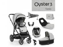 Oyster 3 Nejlepší set 8 v 1 TONIC (CITY GREY rám) 2022 kočár + hl.korba + autosedačka + adaptéry + fusak + taška + isofix báze + držák na nápoje